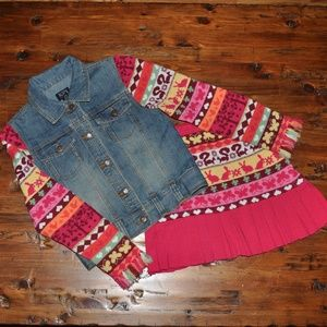 TCP Girl's Sweater Skirt + Jean Jacket Outfit Set